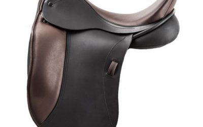 Suzannah Monoflap Dressage Saddle in two tone exotic leather. Available now! £1950
