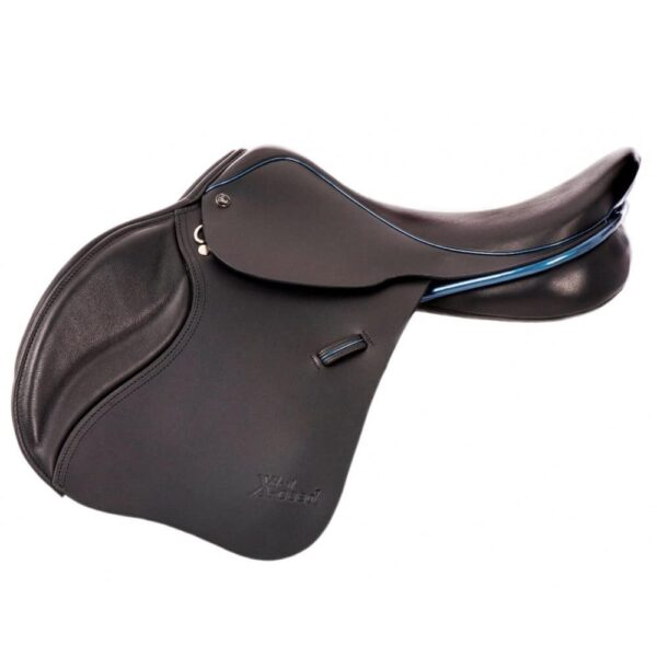 Ideal X-ceed Jump Saddle with Cobalt Blue patent piping & roll. SPECIAL OFFER £1775
